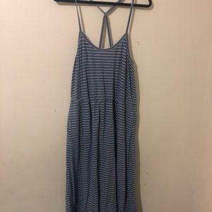J crew blue striped maxi dress